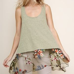 Racerback, Long Tank Top w/Floral Embroidery (M)